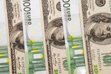 Free 100 Euro An Dollar Banknotes Stock Photography - 8680262