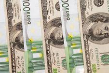 100 Euro An Dollar Banknotes Stock Photography