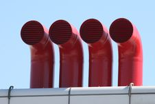 Free Four Stark Red Metal Factory Pipes Royalty Free Stock Photos - 8681018