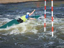A Slalom Canoeist. Royalty Free Stock Photos