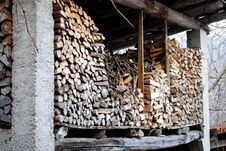 Free Stacked Logs In The Attic Stock Images - 8681964