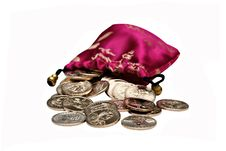 Free Bag Full Of One Dollar Coins Stock Photos - 8682873