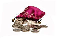 Bag Full Of One Dollar Coins Stock Photos