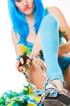 Free Blue Dress And Wig Stock Images - 8683404