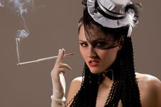 Free Woman Smoking A Cigarette Royalty Free Stock Photography - 8683547