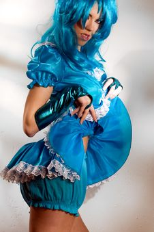 Free Blue Dress And Wig Royalty Free Stock Photo - 8684365