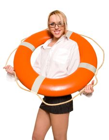 Free Businesswoman With Red Life Buoy Royalty Free Stock Photo - 8684465