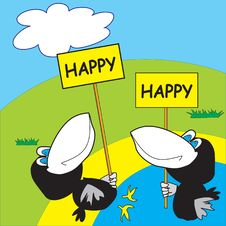 Free Two Happy Crows On The Beach Royalty Free Stock Photos - 8687068