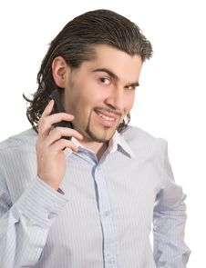 Free Young Male Talks On Mobile Phone Isolated Stock Image - 8687271