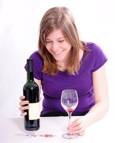 Free Woman And Red Wine Stock Images - 8687674
