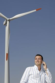 Man And Wind Turbines Stock Photography