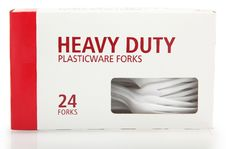Free Box Of Plastic Forks Royalty Free Stock Images - 8689549