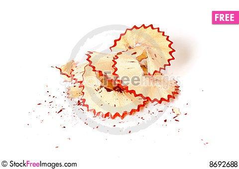 Red pencil shavings Stock Photo