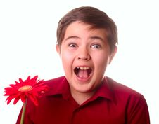 Free Teenager And Red Flower Royalty Free Stock Images - 8691759