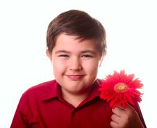 Free Teenager And Red Flower Stock Photography - 8691812