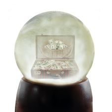 Suitcase Full Of Money In A Snowglobe Royalty Free Stock Photos