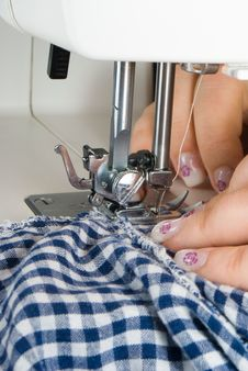 Free Sewing Blue Grid On A Machine Royalty Free Stock Photos - 8693488