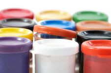 Free Jars With A Paint Gouache On  White Background Stock Photography - 8693922