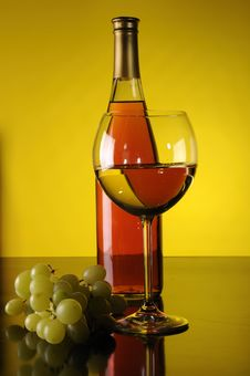 Grapes, Bottle And Glass Of Wine Stock Photos