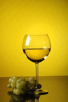 Grapes And Glass Of Wine Stock Images