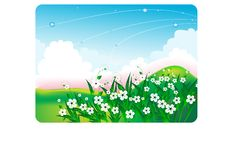 Free Summer Bright Landscape With White Flowers Royalty Free Stock Image - 8694736