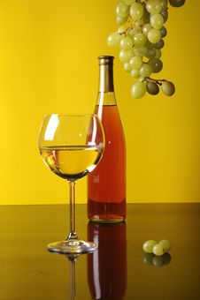 Grapes, Bottle And Glass Of Wine Stock Images