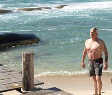 Free Senior Enjoying The Beach. Royalty Free Stock Images - 8696489