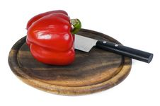 Free Fresh Sweet Pepper On Brown Hardboard Stock Images - 8699694
