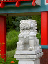 Free Marble Lion Amidst Chinese-style Architecture (II) Royalty Free Stock Photo - 878275