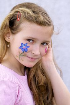 Pretty Girl With Flower Butterfly Make-up Stock Photos
