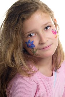 Pretty Girl With Flower Butterfly Make-up Stock Images