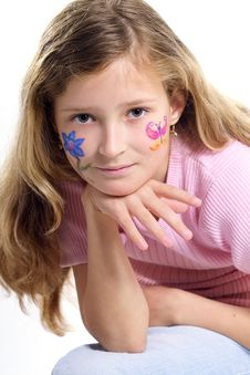 Free Pretty Girl With Flower Butterfly Make-up Royalty Free Stock Photo - 871515