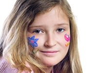 Pretty Girl With Flower Butterfly Make-up Stock Photography