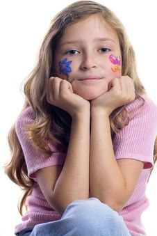 Free Pretty Girl With Flower Butterfly Make-up Royalty Free Stock Photo - 871595