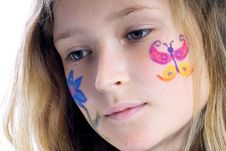 Free Pretty Girl With Flower Butterfly Make-up Stock Photos - 871613