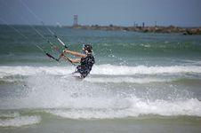 Kitesurfer In The Churn Stock Photo