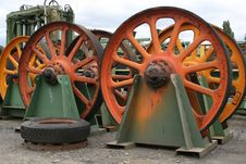 Saw Mill Fly Wheels Royalty Free Stock Photography