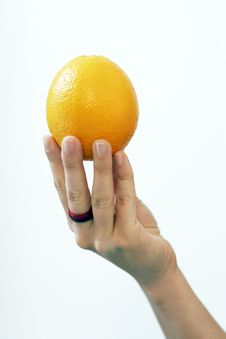Free Orange In Woman S Hand Royalty Free Stock Images - 876729