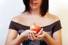 Free Woman With An Apple Royalty Free Stock Image - 876746