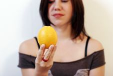 Free Woman With Orange Stock Photography - 876752