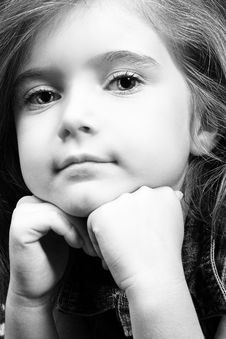 Blond Girl In Denim - Black And White Royalty Free Stock Image