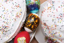Free Easter Cakes And Eggs Stock Photo - 878810