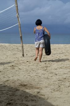Free Lone Woman On Beach Stock Images - 879714