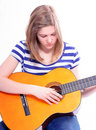 Free Woman With Acoustic Guitar Royalty Free Stock Photos - 8707768