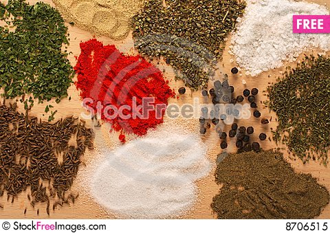 Free Ingredients On Wooden Table Royalty Free Stock Photo - 8706515