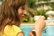 Girl Holding Cup Coffee Stock Photography