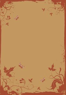 Free Grunge Retro Floral Frame With Butterflies For You Royalty Free Stock Photo - 8700945