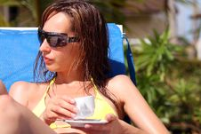 Free Woman With Coffee By The Pool Royalty Free Stock Images - 8701159