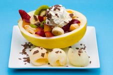 Free Fruits In A Honeydew With Cream Royalty Free Stock Images - 8703049