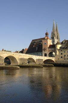 Free A Panorama View To German Town Regensburg Stock Photo - 8703870